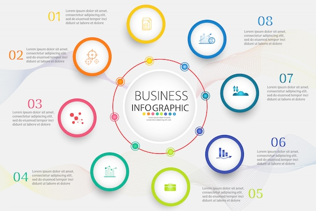 Business template 8 élément ou étapes élément de graphique infographique. Vecteur Premium