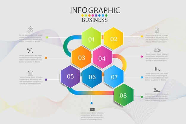 Business template 8 options éléments de graphique infographique Vecteur Premium