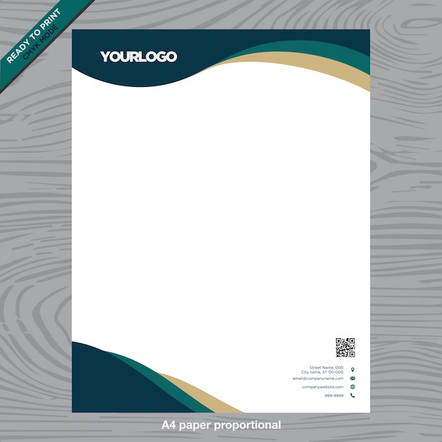 Business white paper with logo Vecteur gratuit