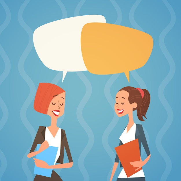 Business woman group chat bubble team collègues des ressources humaines Vecteur Premium