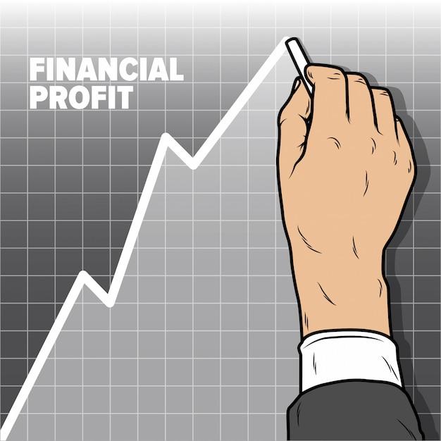 Businessmans main dessin graphique augmentation graphique. baisse des bénéfices et baisse des ventes Vecteur Premium