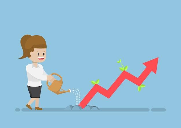 Businesswoman Watering Business Graph Que La Croissance à Travers Le Sol Vecteur Premium