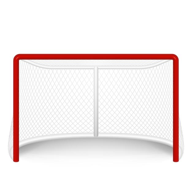 But De Hockey Rouge, Filet. Isolé Sur Blanc. Vecteur Premium