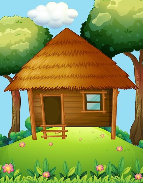 Cabane En Bois Sur La Colline Vecteur gratuit