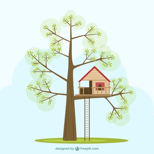 Cabane dans les arbres t l charger des vecteurs gratuitement - Dessin cabane ...