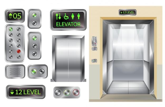 Cabine D'ascenseur Avec Portes Et Panneau De Boutons Chromé Vecteur gratuit