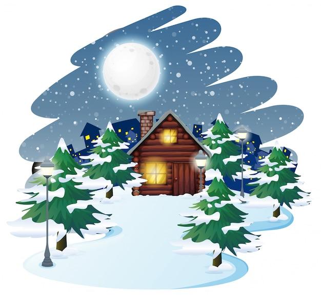 Cabine dans le fond de l'hiver Vecteur gratuit