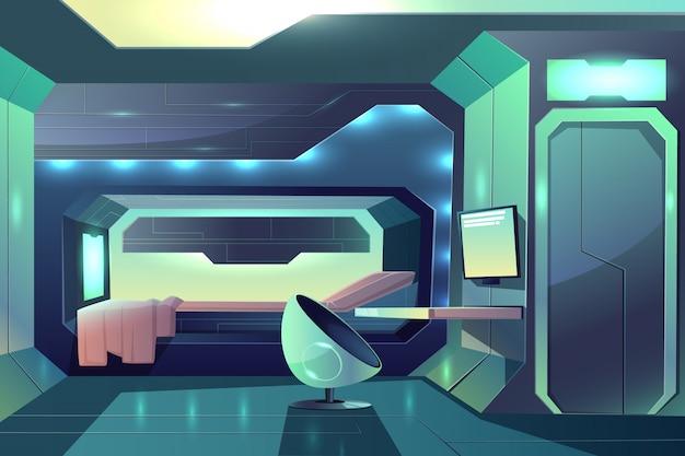 Cabine personnelle de membre d'équipage du futur vaisseau spatial intérieur minimaliste avec néon de lumière ambiante Vecteur gratuit