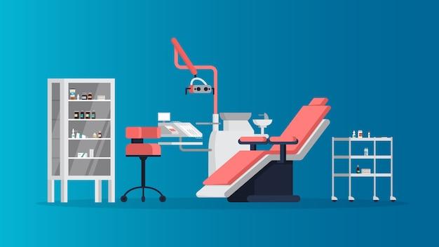 Cabinet Dentaire à L'intérieur De La Clinique. Différents équipements Pour Dentiste. Idée De Santé Et D'hygiène Dentaire. Bureau De Dentiste. Illustration Vecteur Premium