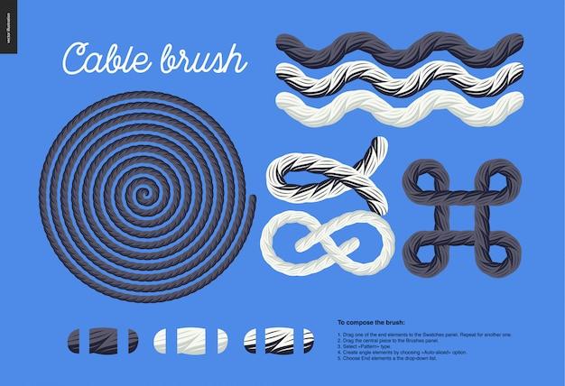 Câble brosse - élément de corde vecteur brosse avec des éléments d'extrémité, et quelques exemples d'utilisation - noeuds, boucles, cadres. Vecteur Premium