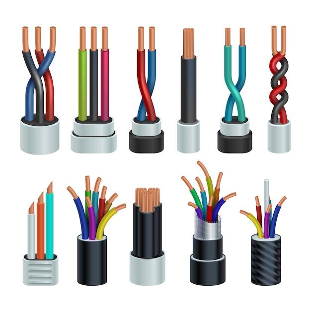 Câbles Industriels électriques Réalistes, Ensemble De Fils électriques En Cuivre Isolé Vecteur Premium
