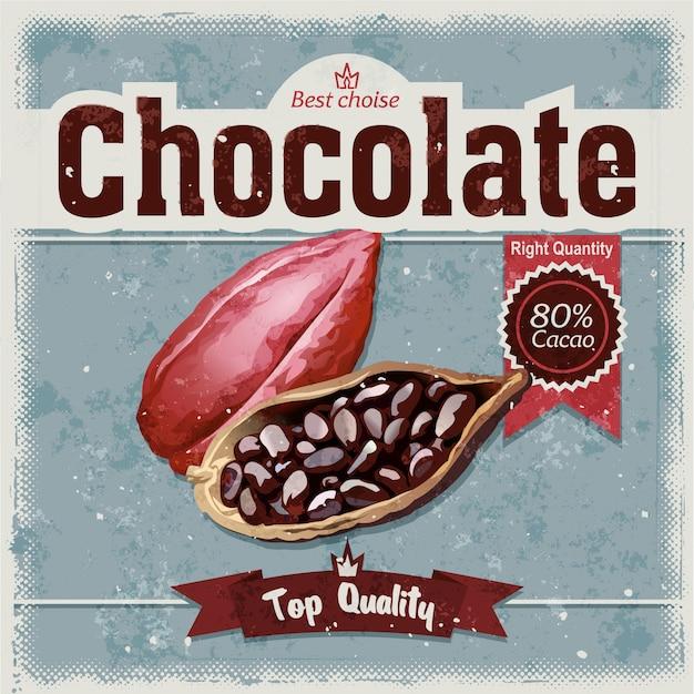 Cacao sur fond grunge. Vecteur gratuit