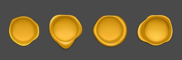 Cachet D'or Sceau Approbation Timbre D'étanchéité Ensemble D'icônes Vecteur gratuit
