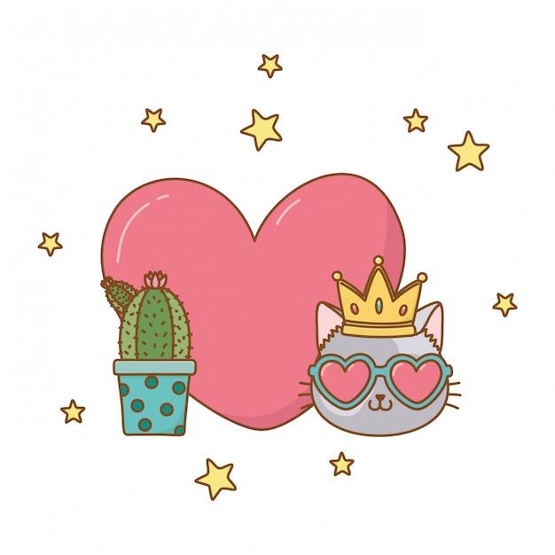 Cactus et chat avec coeur Vecteur Premium