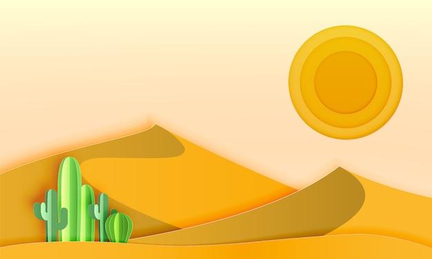 Cactus Dans Le Paysage Désertique Avec Illustration Vectorielle De Papier Art Style Vecteur Premium