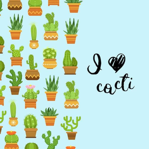 Cactus dans des pots de plantes. bannière et affiche avec inscription j'aime les cactus Vecteur Premium