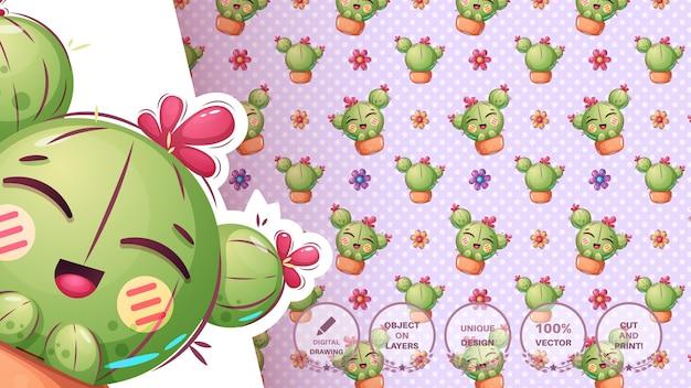 Cactus De Dessin Animé Mignon Vecteur gratuit