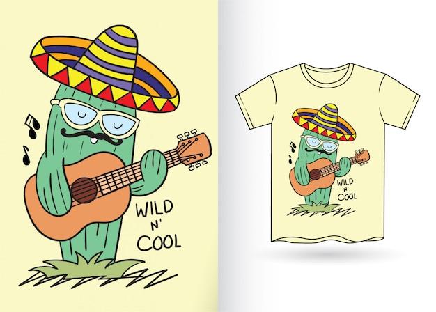 Cactus dessiné à la main pour la conception de t-shirt Vecteur Premium