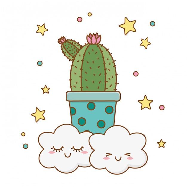 Cactus icon cartoon avec nuages Vecteur Premium