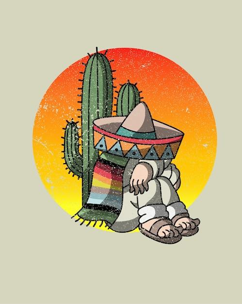 Cactus ivre mexicain Vecteur Premium