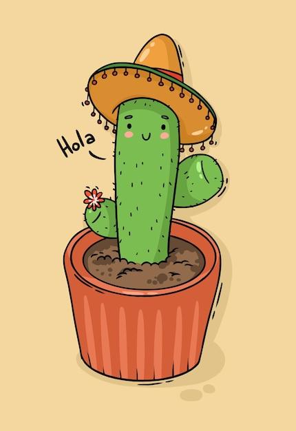 Cactus Mexicain De Personnage De Dessin Animé En Sombrero Vecteur Premium