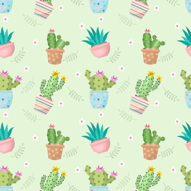 Cactus mignon en jacquard sans soudure pot. Vecteur Premium