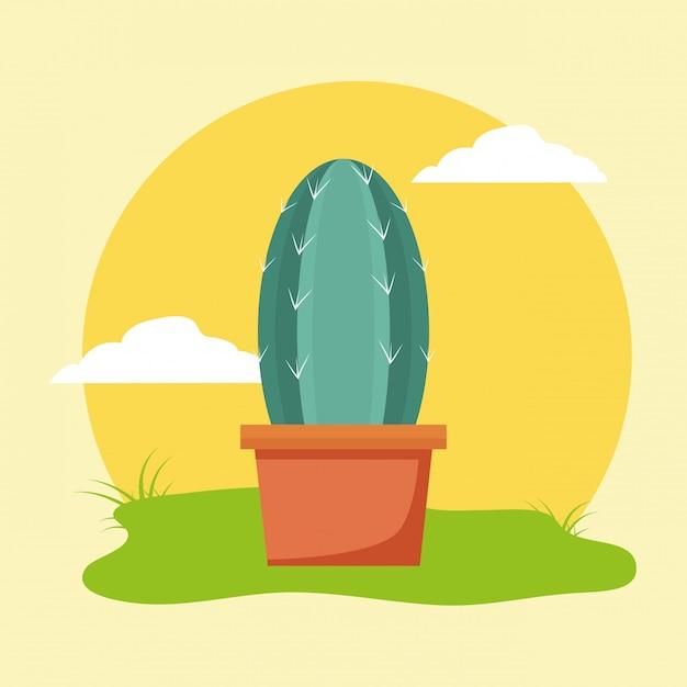 Cactus en pot dans le jardin Vecteur gratuit