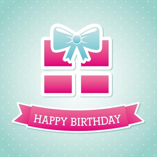 Cadeau d'anniversaire sur illustration vectorielle fond bleu Vecteur Premium