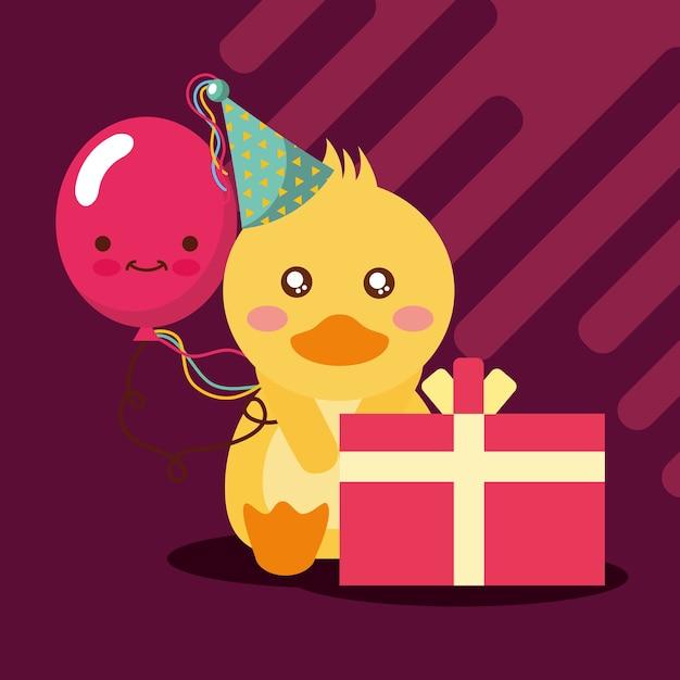 Cadeau boîte kawaii ballon mignon canard avec chapeau de fête Vecteur Premium