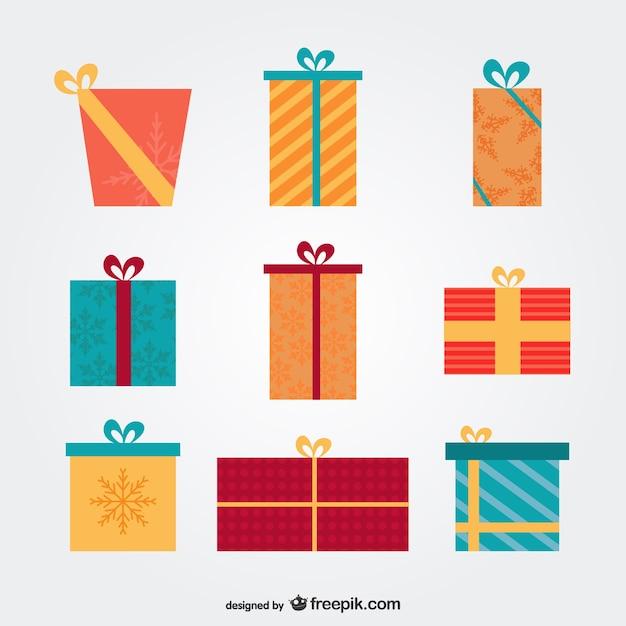 Cadeaux de no l paquet t l charger des vecteurs gratuitement - Paquets cadeaux noel ...
