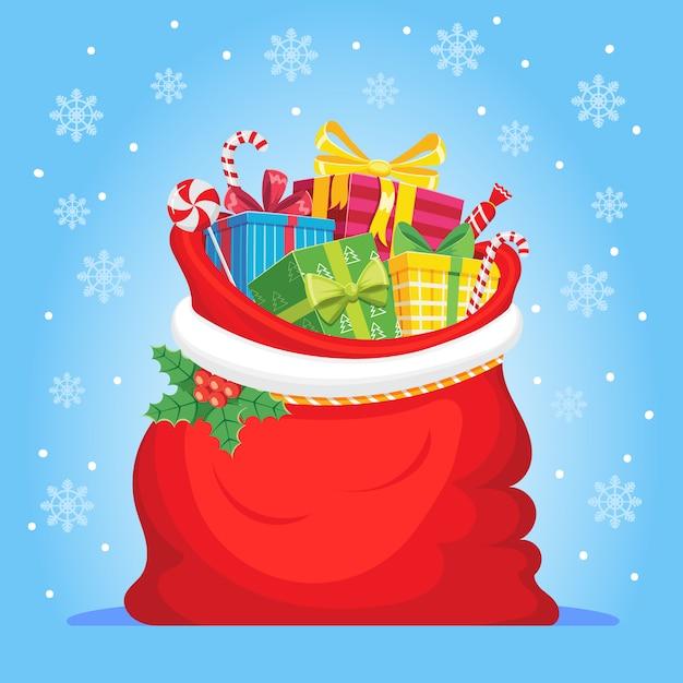 Cadeaux Du Père Noël Dans Un Sac Vecteur Premium