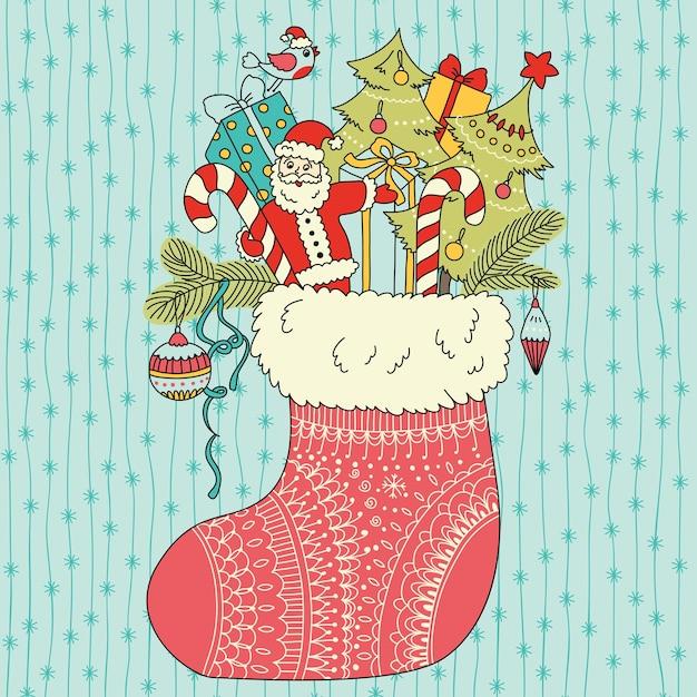 Cadeaux De Noël En Chaussette Vecteur Premium