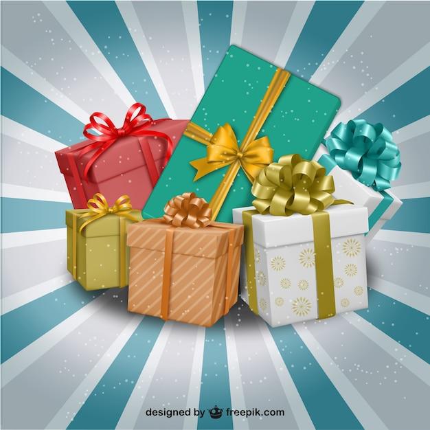 Cadeaux De Noël Illustration Vecteur gratuit