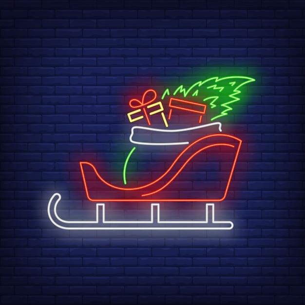 Cadeaux de noël en traîneau à la mode néon Vecteur gratuit