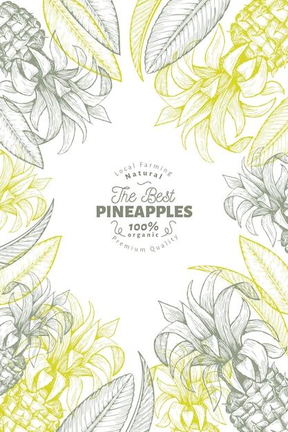 Cadre ananas et feuilles tropicales Vecteur Premium
