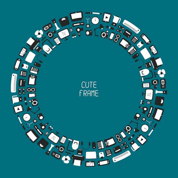 Cadre D'appareils électroniques Et Icônes D'appareils Ménagers Dans Un Style Plat Vecteur Premium