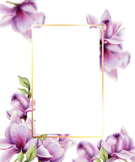Cadre avec aquarelle de fleurs. beau cadre de décor floral Vecteur Premium