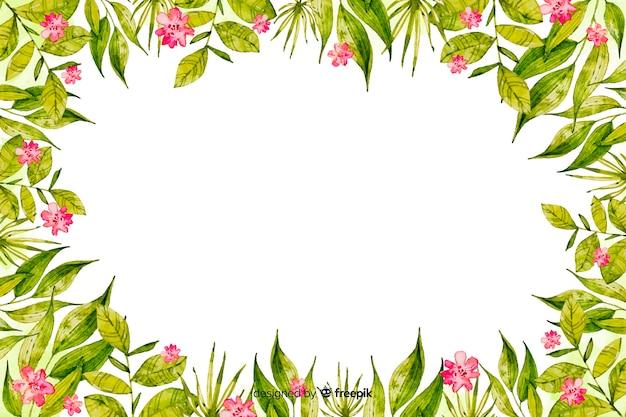 Cadre aquarelle avec fond de fleurs Vecteur gratuit