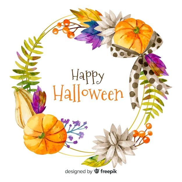 Cadre Aquarelle Joyeux Halloween Vecteur gratuit