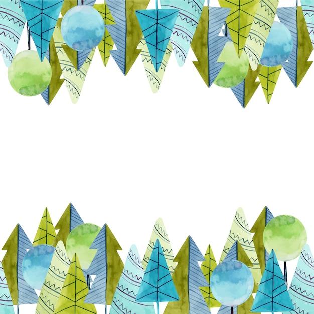 Cadre d'aquarelle simples arbres et épicéas Vecteur Premium