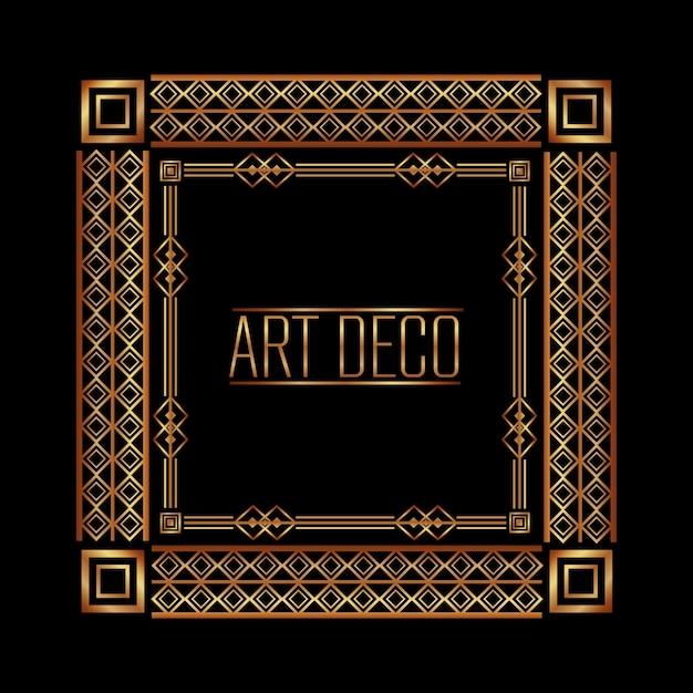 Cadre art déco géométrique abstrait décoratif Vecteur Premium