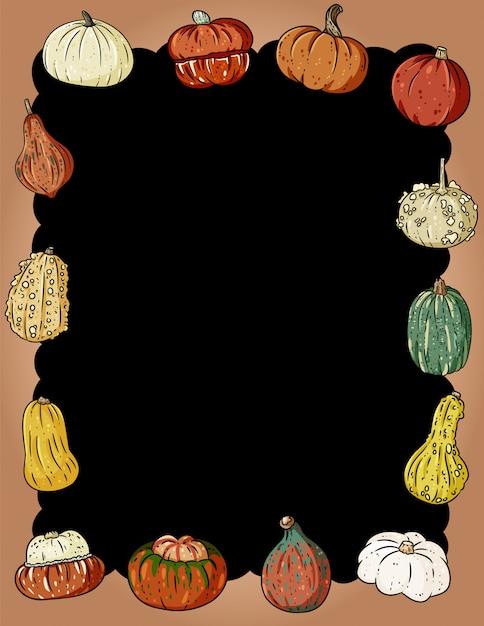 Cadre Automne Mignon Citrouilles Avec Espace De Copie Vecteur Premium