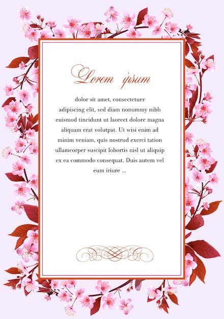 Cadre aux fleurs de cerisier Vecteur Premium