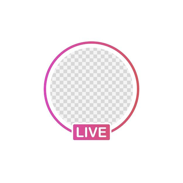 Cadre d'avatar d'icône de médias sociaux. histoires en direct utilisateur streaming vidéo. Vecteur Premium