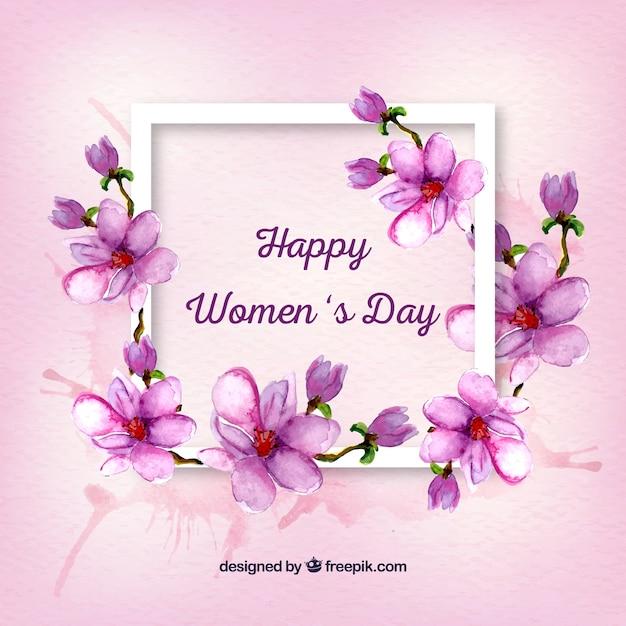 Cadre avec détails floraux d'aquarelle de la journée de la femme Vecteur gratuit