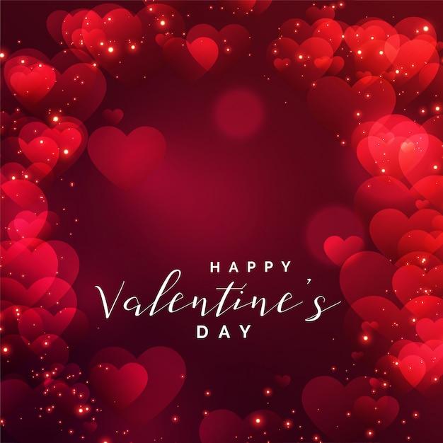 Cadre de beaux coeurs pour la saint valentin Vecteur gratuit