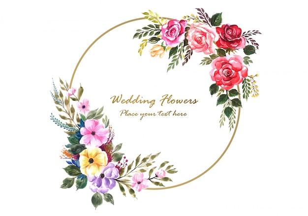 Cadre De Belles Fleurs Avec Modèle De Carte De Widding Vecteur gratuit