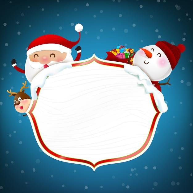 Cadre En Bois Blanc Avec Joyeux Noel Bonhomme De Neige De Dessin