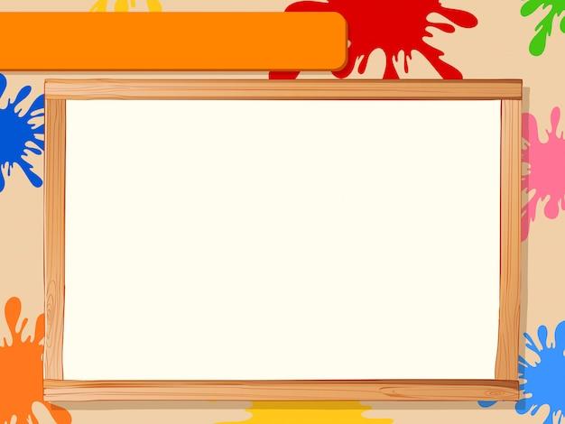 Cadre en bois avec peinture de couleur, surface Vecteur gratuit
