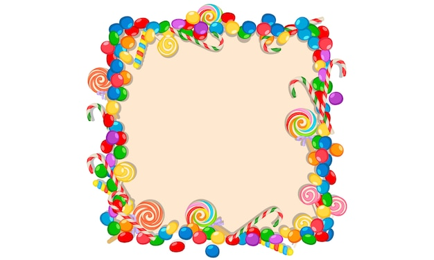 Cadre de bonbons colorés sur fond blanc Vecteur Premium